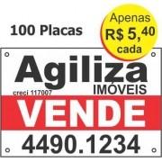 100 Placas Imobiliarias em pvc de 1,0mm 50x33cm com 2 Cores e 4 furos