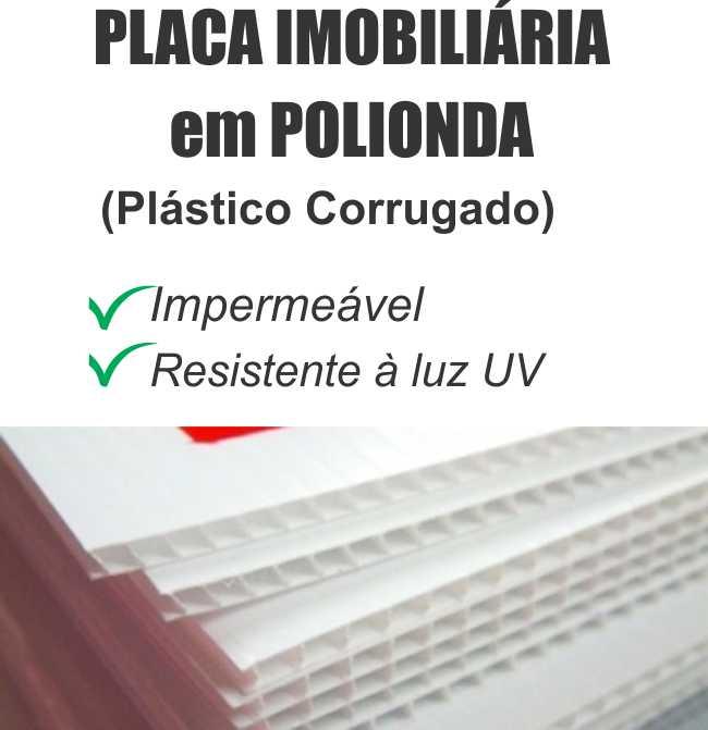 Placa Imobiliaria Polionda 3mm 70x50cm 2 cores impressas