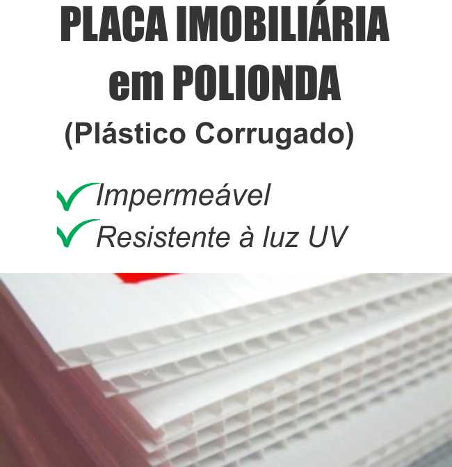 Placa Imobiliaria Polionda 3mm 70x50cm 3 cores impressas