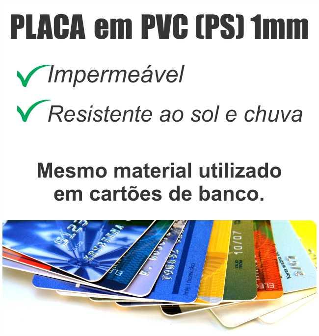 Placa PVC PS 66x50cm com 1 cor