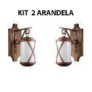 Kit 2 Arandela Rústica Madeira E Metal Império Madelustre