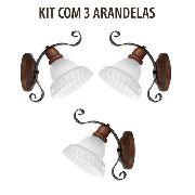 Kit 3 Arandela Vintage Rústica Sombrero 1 Lâmpada Madelustre