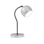 Luminária de Mesa Escovado 40cm Abajur E27 Bola Alumínio