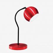 Luminária de Mesa Vermelha 40cm Abajur E27 Bola Alumínio