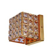 Arandela Decorativa Cristal 12x15cm Quadrada Luxor lll Dourada BL