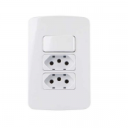 Conjunto 1 Interruptor Simples + 2 Tomada 10A 4x2 B3 MarGirius