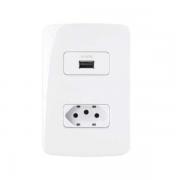 Conjunto Tomada USB Carregador + Tomada 2P+T 10A B3 MarGirius