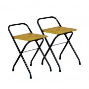 Conjunto 2 Cadeiras Dobrável em Madeira Natural
