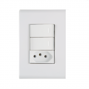 Conjunto 2 Interruptor Paralelo + Tomada 2P+T 10A 4x2 Tramontina Liz