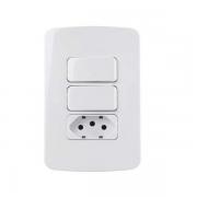 Conjunto 2 Interruptor Simples + Tomada 10A 4x2 B3 MarGirius