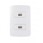 Conjunto 2 Tomada Carregador USB 1A Bivolt 4x2 B3 MarGirius