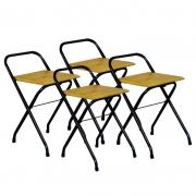 Conjunto 4 Cadeiras Dobrável em Madeira Natural