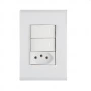 Conjunto 2 Interruptor Simples + Tomada 2P+T 10A 4x2 Tramontina Liz