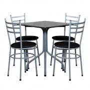 Conjunto Mesa Quadrada 68x68cm Cinza Com 4 Cadeiras Epoxi
