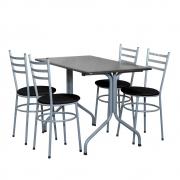 Conjunto Mesa Retangular 70x120cm Cinza Com 4 Cadeiras Epoxi