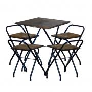 Jogo Mesa Dobrável Bar 58x58cm Com 4 Cadeiras Madeira Imbuia