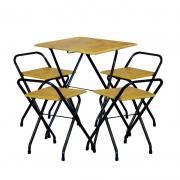 Jogo Mesa Dobrável Bar 58x58cm Com 4 Cadeiras Madeira Natural