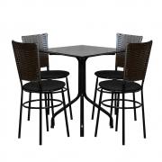 Conjunto Mesa Quadrada 68x68cm Preta Com 4 Cadeiras Café