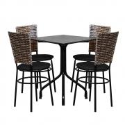 Conjunto Mesa Quadrada 68x68cm Preta Com 4 Cadeiras Cappuccino