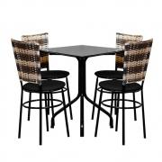 Conjunto Mesa Quadrada 68x68cm Preta 4 Cadeiras Cappuccino Premium
