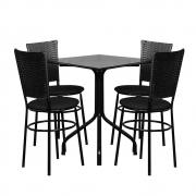 Conjunto Mesa Quadrada 68x68cm Preta com 4 Cadeiras Preta