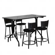 Conjunto Mesa Retangular 70x120cm Preta Com 4 Banquetas Café