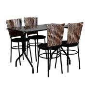 Conjunto Mesa Retangular 70x120cm Preta Com 4 Cadeiras Cappuccino