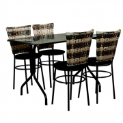 Conjunto Mesa Retangular 70x120cm Preta 4 Cadeiras Cappuccino Premium