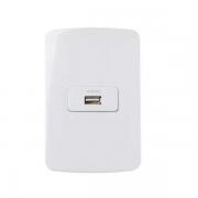 Conjunto Tomada Carregador USB 1A Bivolt 4x2 B3 MarGirius