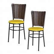 Jogo 2 Cadeiras Preta Para Cozinha Hawai Cappuccino