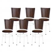 Jogo 6 Cadeiras Para Cozinha Branca Hawai Cappuccino