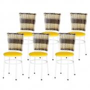 Jogo 6 Cadeiras Para Cozinha Branca Hawai Cappuccino Premium