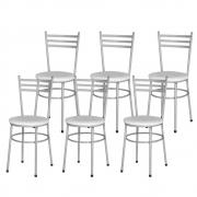 Jogo 6 Cadeiras Pra Cozinha Epoxi Cinza