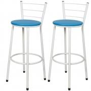 Jogo 2 Banqueta Alta Para Cozinha Branca Epoxi Assento Azul