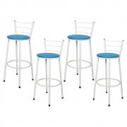 Jogo 4 Banqueta Alta Para Cozinha Branca Epoxi Assento Azul