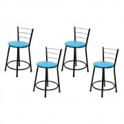Jogo 4 Banqueta Baixa Para Cozinha Preta Assento Azul