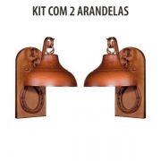 Kit 2 Arandela Rústica Estancia Ferradura Madeira Madelustre