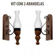 Kit 2 Arandela Rústica Medieval Roma 1 Lâmpada Madelustre