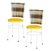 Jogo 2 Cadeiras Para Cozinha Branca Hawai Cappuccino Premium