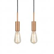 Kit 2 Pendente Infinite Cobre + Lâmpadas LED 4w ST64 Quente Bivolt