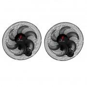 Kit 2 Ventiladores Oscilante Parede Ventura 50cm Preto Bivolt 60 fios