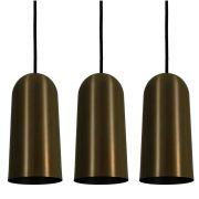 Kit 3 Luminária Pendente Cilíndrico 33x15cm Aluminium Bronze