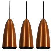 Kit 3 Luminária Pendente Oval 29x13cm Aluminium Cobre - TKS