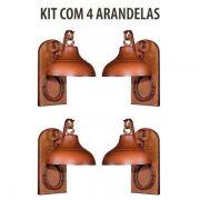 Kit 4 Arandela Rústica Estancia Ferradura Madeira Madelustre