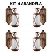 Kit 4 Arandela Rústica Madeira E Metal Império Madelustre
