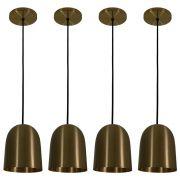 Kit 4 Luminária Pendente 16x14cm Aluminium Bronze
