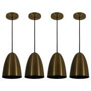 Kit 4 Luminária Pendente Oval 24x18.5cm Aluminium Bronze