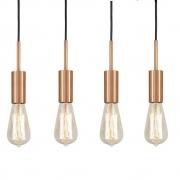 Kit 4 Pendente Infinite Cobre + Lâmpadas LED 4w ST64 Quente Bivolt