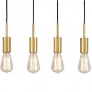 Kit 4 Pendente Infinite Dourado + Lâmpadas LED 4w ST64 Quente Bivolt