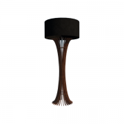 Luminária de Chão Abajur Piso 160cm Madeira Imbuia e Tecido Preto